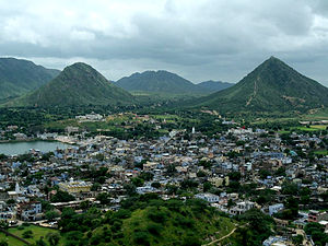 Padma Purana - The text describes Pushkar in Rajasthan (above), as a place for pilgrimage. The Brahma temple and lake in the text is to the left in the image.