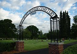 Hillsboro Pioneer Cemetery entrance sign right - Oregon.JPG