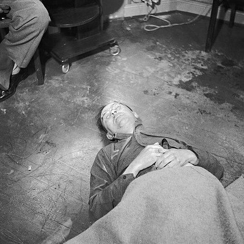 Heinrich Himmler (1900 - 1945): The body of Heinrich Himmler lying on the floor of British 2nd Army HQ after his suicide on 23 May 1945.