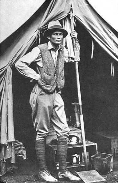 Hiram Bingham III at his tent door near Machu Picchu