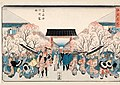 Hiroshige, Cherry Blossom Time, Yoshiwara Nakanochô (Yoshiwara nakanochô sakura-doki) From the series Famous Views of Edo (Edo meisho), c. 1839–1842.jpg