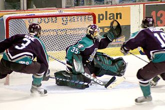 Goal (sport) - Ice hockey: The puck hits the top of the net for a goal as the goaltender fails to block the shot