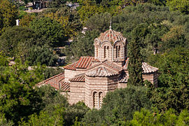 Holy Apostles church ancient agora from Acropolis Athens.jpg