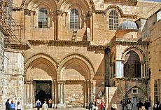 The main entrance to the Church of the Holy Sepulchre