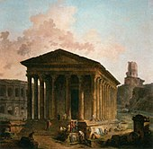 Hubert Robert - The Maison Carée, the Arenas and the Magne Tower in Nimes - WGA19601.jpg