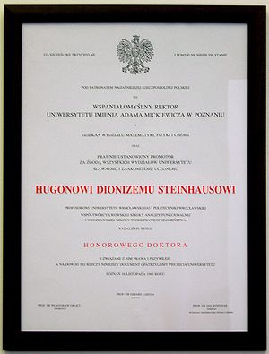 Hugo Steinhaus - Honorary doctorate bestowed on Steinhaus by Poznań University