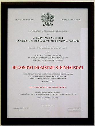 Hugo Steinhaus - Honorary doctorate bestowed on Steinhaus by Poznań University