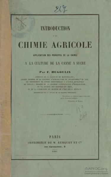 File:Hugoulin - Introduction à la chimie agricole, application des principes de la chimie à la culture de la canne à sucre.djvu