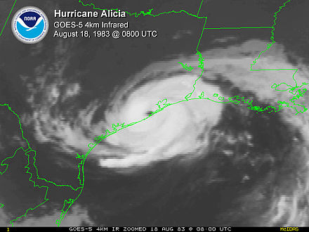 Alicia at peak intensity just after landfall on the morning of August 18 Hurricane Alicia 1983.jpg