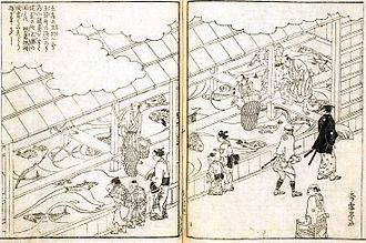 Public aquarium - An early aquarium in Japan in the 18th century