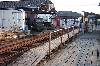 Hythe Pier, Railway and Ferry - The landward station, with depot and spare locomotive