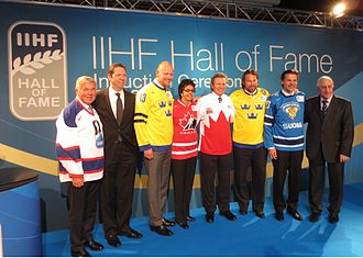 Mats Sundin - Sundin (third-left) at the IIHF Hall of Fame induction ceremony in 2013.