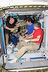 ISS-45 Scott Kelly, Sergey Volkov and Mikhail Kornienko in the Harmony node.jpg