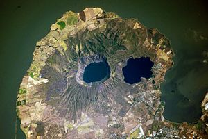 Apoyeque - The Chiltepe Peninsula and the Apoyeque caldera, view from the ISS.