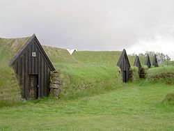 Turf houses in keldur iceland