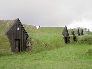 Earth sheltering - Turf houses in Keldur, Iceland.