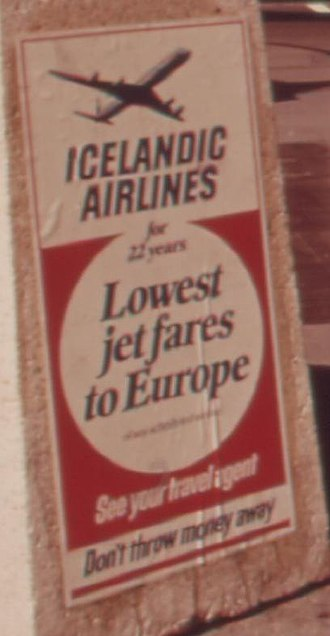 Icelandic Airlines - An Icelandic Airlines advertisement from May 1973, in New York's historic Fifth Avenue.