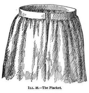 Placket - Illustration of a placket, or opening, made in the upper part of a petticoat or skirt for convenience in putting it on