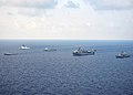 Indonesian navy, U.S. Navy and U.S. Coast Guard ships steam through the Java Sea June 6, 2012, while conducting ship formation exercises during the at-sea phase of Cooperation Afloat Readiness and Training 120606-N-HI414-562.jpg