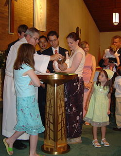 Christian baptism of infants or young children