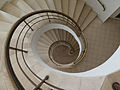 Interior view down spiral staircase tower Beit Weizmann house.jpg