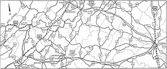 Interstate 64 in Virginia - Image: Interstate Route 64 proposed north and south locations Clifton Forge Richmond