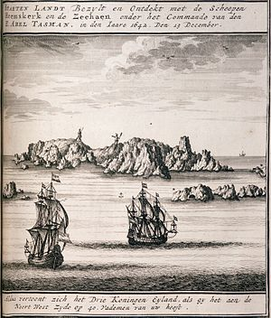 Three Kings Islands - Engraving of a sketch by crew-member Isaac Gilsemans showing the islands from the north west.