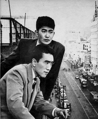 Shintaro Ishihara - Shintaro Ishihara (upper) and Yukio Mishima (lower) in 1956
