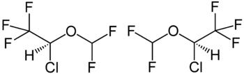 Strukturformeln der Enantiomere von Isofluran