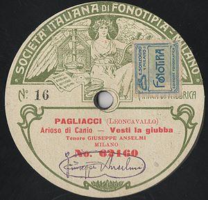 Fonotipia Records - Image: Italian Fonotipia label, Giuseppi Anselmi, Vesti la giubba