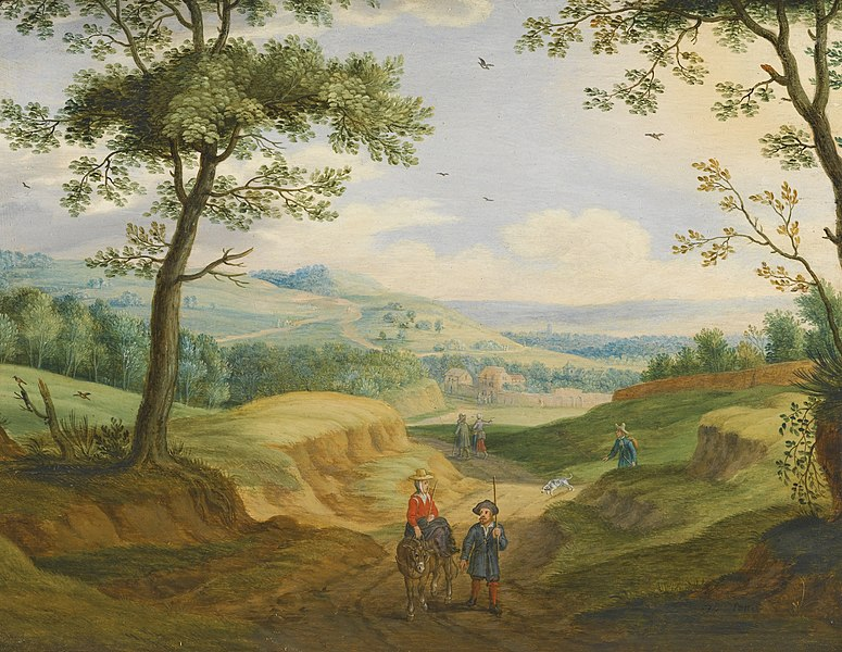 File:Izaak van Oosten - An Extensive Landscape with Travellers on a Road.jpg