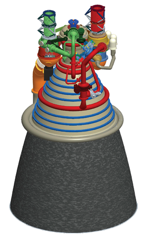 Nozzle extension - Artist rendition of liquid rocket engine J-2X with expanded nozzle extension.