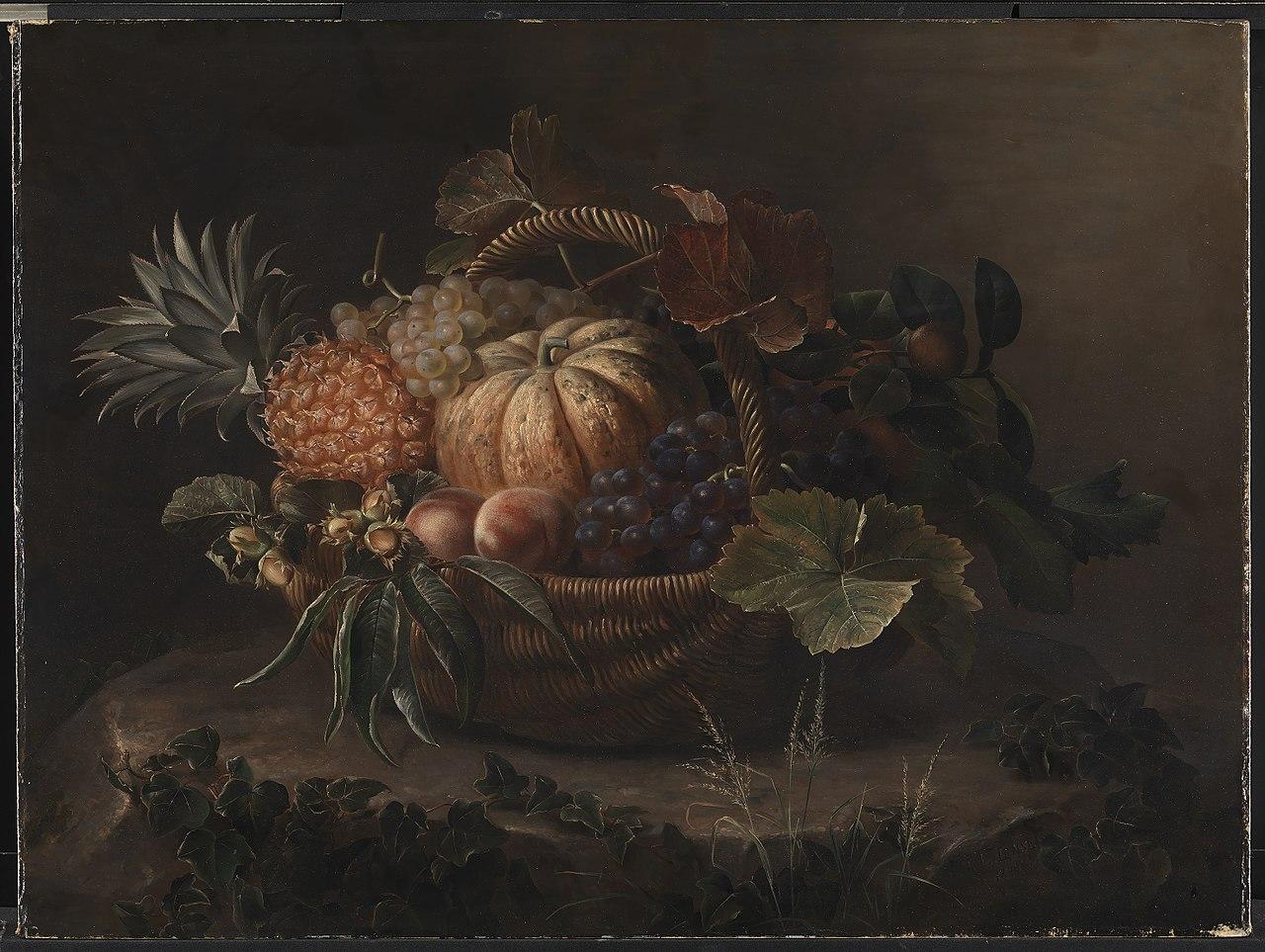 J.L. Jensen - En kurv med frugter på en træstub - KMS449 - Statens Museum for Kunst.jpg