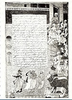 Krishna in the Mahabharata -  Krishna as envoy of pandavas in hastinapur , Artist Jagana folio from Akbar Razmnama at Jaipur .
