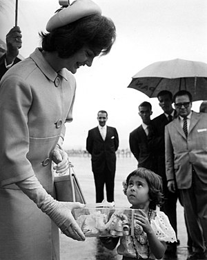 1960s in Western fashion - US First Lady Jacqueline Kennedy arrives in Venezuela, 1961