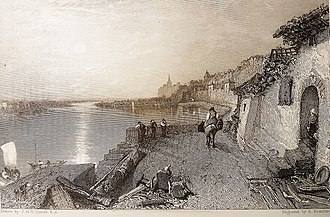 Montsoreau - J.M.W. Turner, Rietz near Saumur 1826, engraved by Brandard, Château de Montsoreau-Museum of Contemporary Art. Showing a sunset on the Loire river with the vieux-port of Montsoreau, the new road and the château.