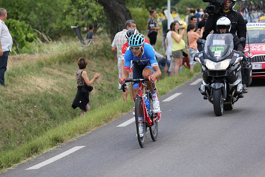 Jack Bauer and Martin Elmiger on Route de Roussillon (D2) during stage 15 of Tour de France 2014