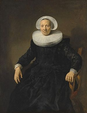 Jacob Adriaensz Backer - Perhaps this portrait of a woman in an armchair by Backer seemed more attractive to the sitter mentioned by Sandrart than the portraits by Frans Hals of her Haarlem contemporaries, the Voogt sisters, and that is why she travelled to Amsterdam for her portrait to be done.