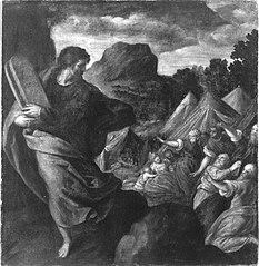 Moses bringt die Gesetzestafeln (?)