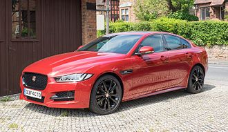 Jaguar Land Rover - Image: Jaguar XE 2016 front three quarter