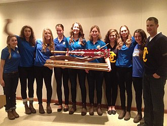 Canadian University Rowing Association - Image: Jane Thornton Trophy presented to UBC W8+ at the 2014 CURC