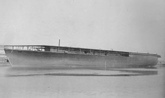 Japanese aircraft carrier Hōshō - Hōshō in Tsurumi-ku after being launched, December 20, 1921.
