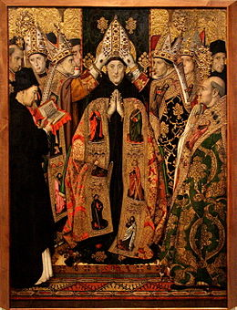 Jaume Huguet - The Consecration of St Augustine - WGA11794.jpg