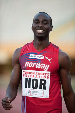 The Gambia at the Olympics - Jaysuma Saidy Ndure (pictured in 2011) ran for the Gambia at the 2004 Summer Games in Athens, but later switched nationalities and competed for Norway in 2008 and 2012.