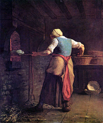 Cooking - Historical oven baking, in a painting by Jean-François Millet, 1854