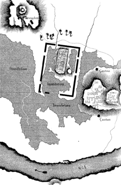 Map of Sais ruins drawn by Jean-François Champollion during his expedition in 1828.