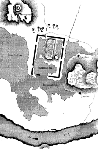 Sais, Egypt - Map of Sais ruins drawn by Jean-François Champollion during his expedition in 1828