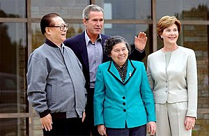 Jiang Zemin with wife Wang Yeping and George W. Bush with wife Laura Bush in Crawford, Texas in 2002.