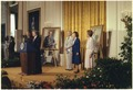 Jimmy Carter and Rosalynn Carter present the White House portraits of Gerald Ford and Betty Ford. - NARA - 179547.tif