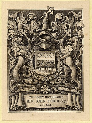 The bookplate of Sir John Forrest